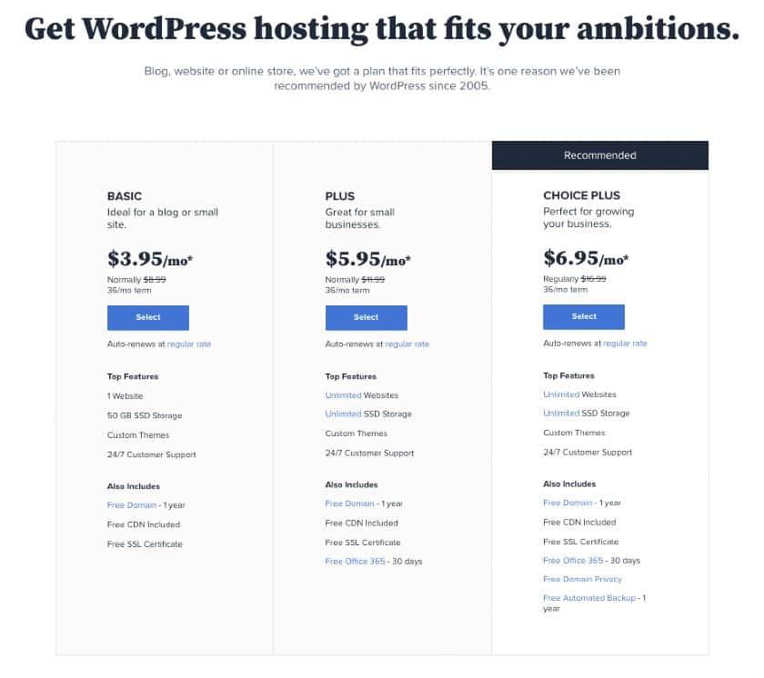 WordPress Pricing table