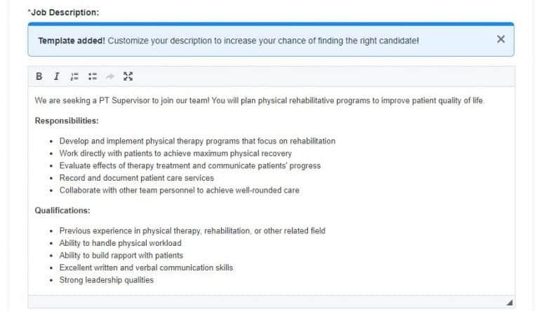Screenshot of ZipRecruiter job description template