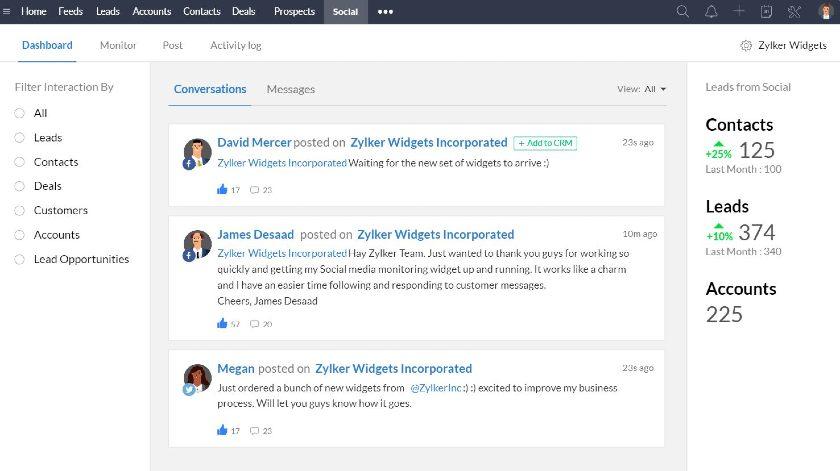 Zoho CRM social media management