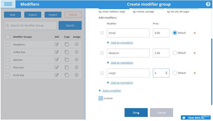 Screenshot of eHopper inventory management