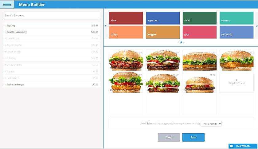 Screenshot of eHopper menu builder