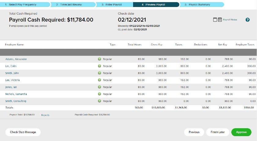 Screenshot of Approve Payroll