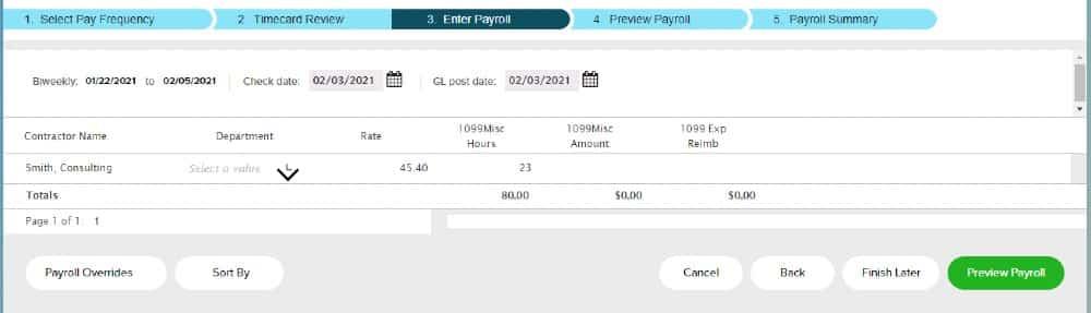Screenshot of Entering Contractor Information