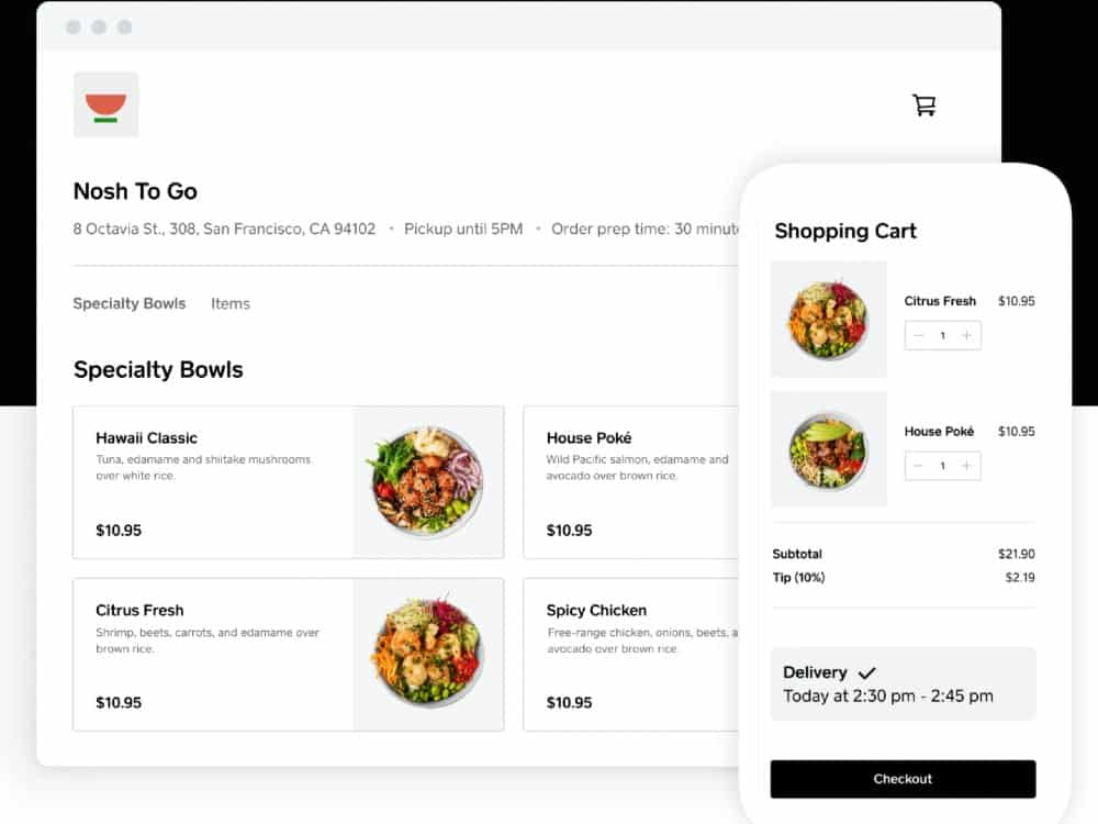 Screenshot of Square Shopping Cart on Desktop and Mobile