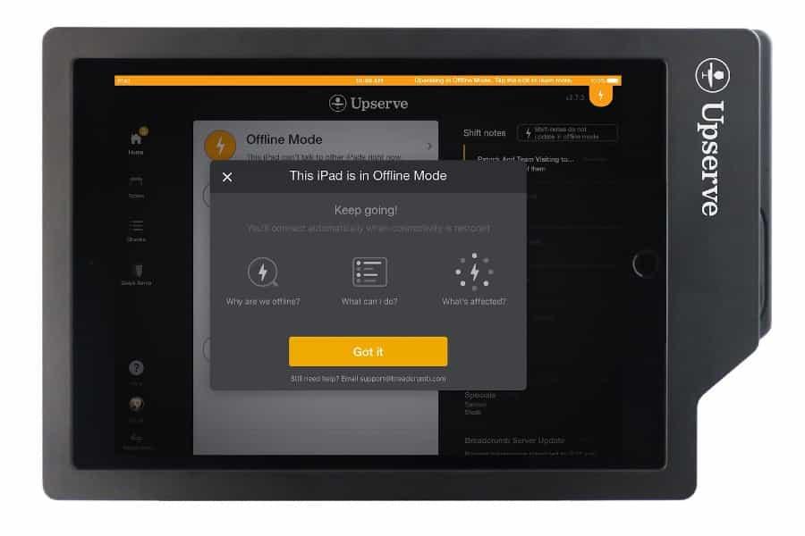 Screenshot of Upserve Register Navigation Offline Mode