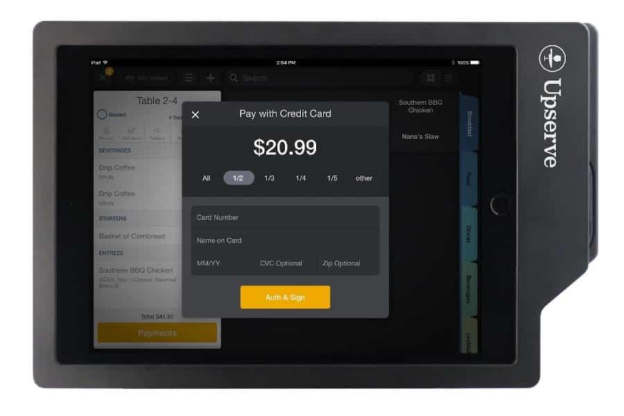 Screenshot of Upserve Register Navigation Pay with Credit Card