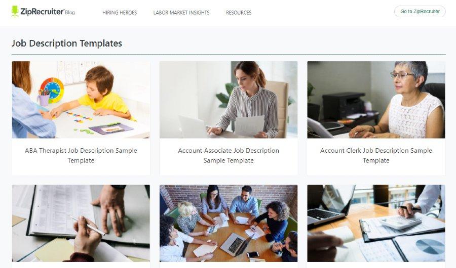 Screenshot of ZipRecruiter More Than 500 Customizable Templates