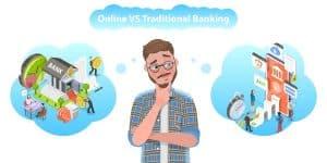 Man choosing between Online Banking vs Traditional Banking