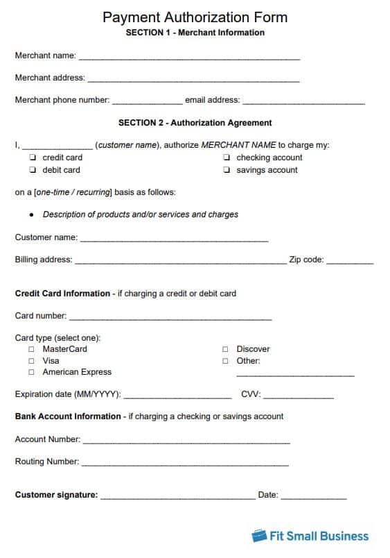 Payment Authorization Form