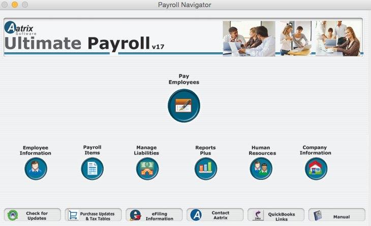 Screenshot of Aatrix Payroll Navigator dashboard,