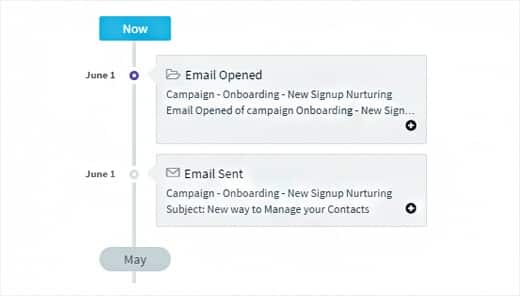 Screenshot of Agile CRM contacts interaction history