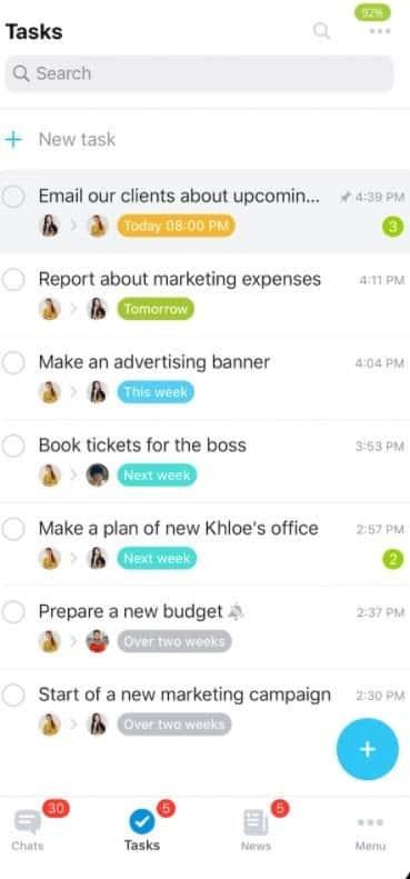 Screenshot of Bitrix24 mobile app