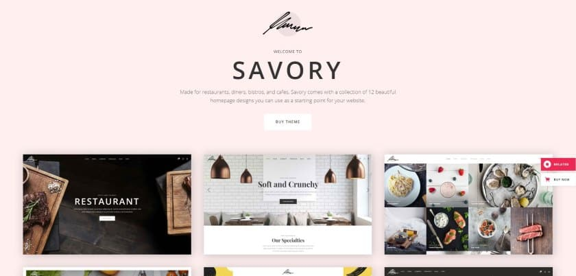 Bluehost example - Savory website