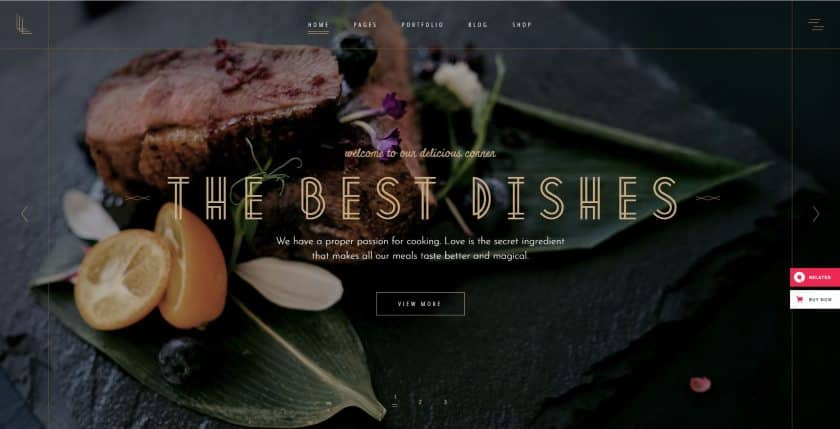 Bluehost example - The Best Dishes website
