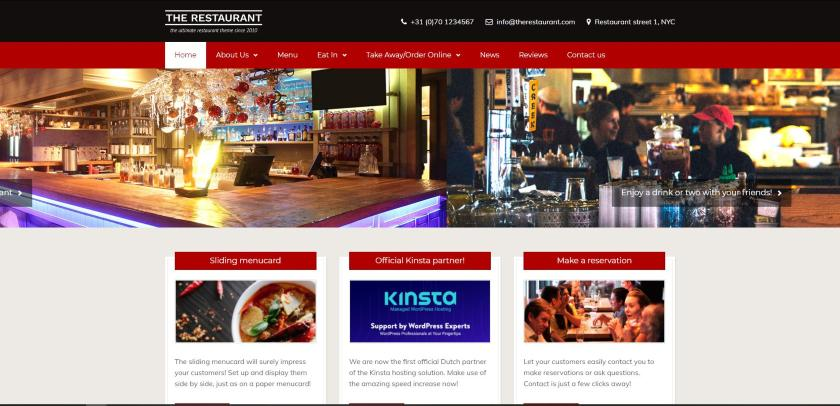 Bluehost example - The Restaurant website