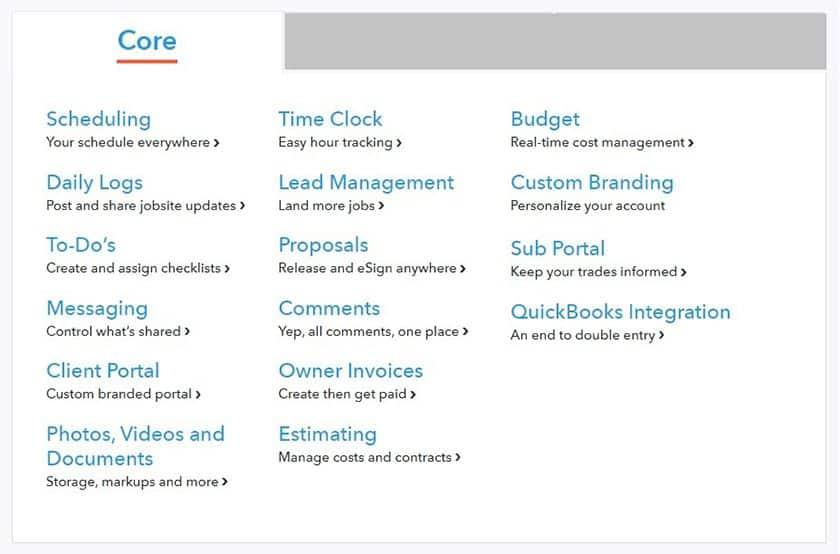 Screenshot of Buildertrend Core Plan