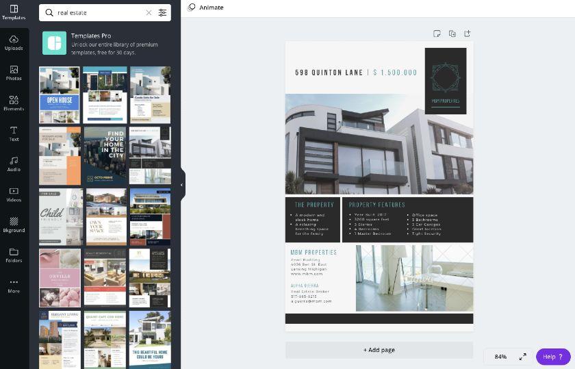 Canva real estate graphic templates