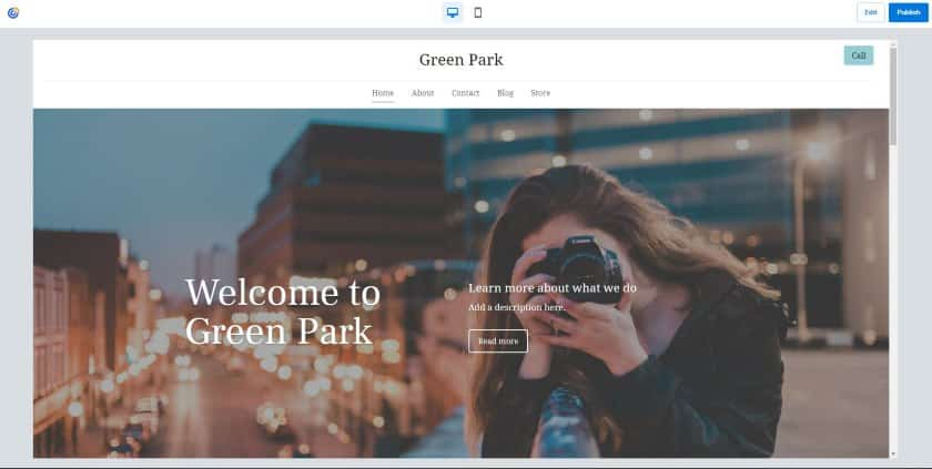 Constant Contact example - Green Park website