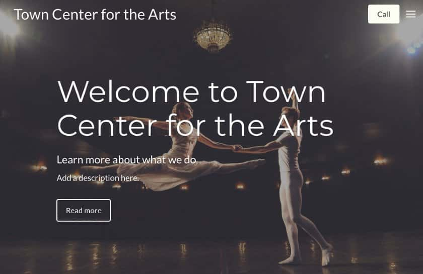 Constant Contact example - Town Center for the Arts website