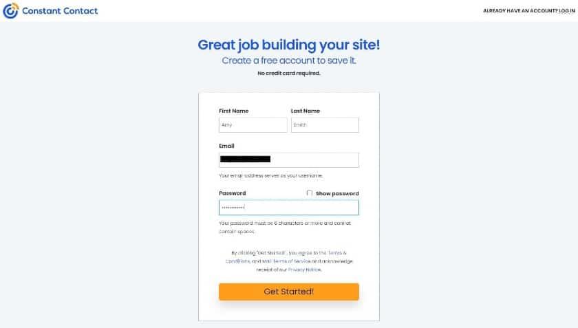 Constant Contact Account Registration