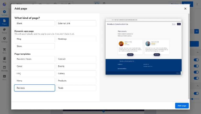 add page templates in Constant Contact site builder