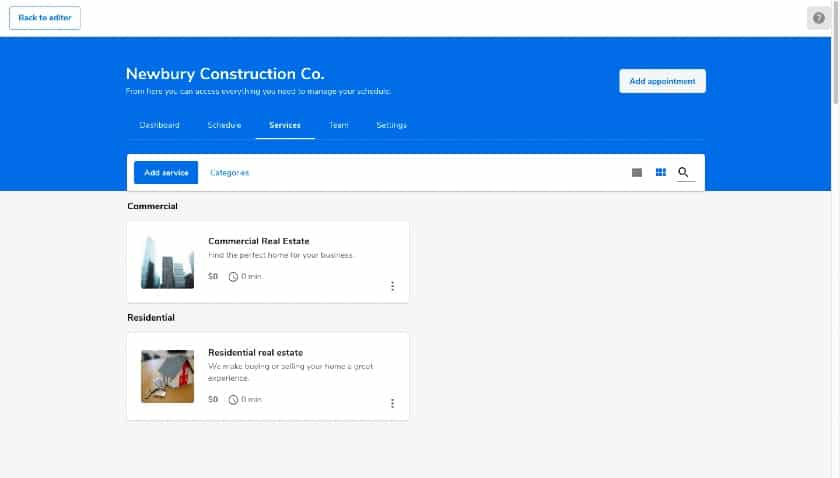 Constant Contact website page preview
