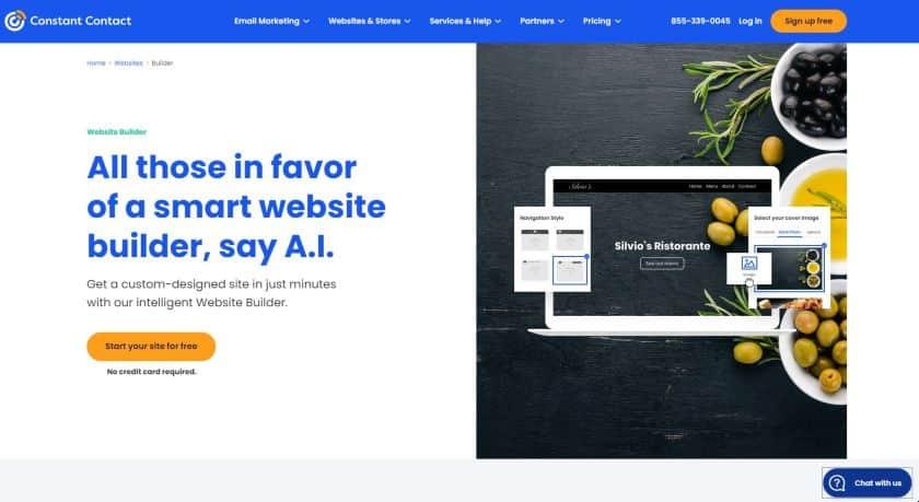 Constant Contact website homepage