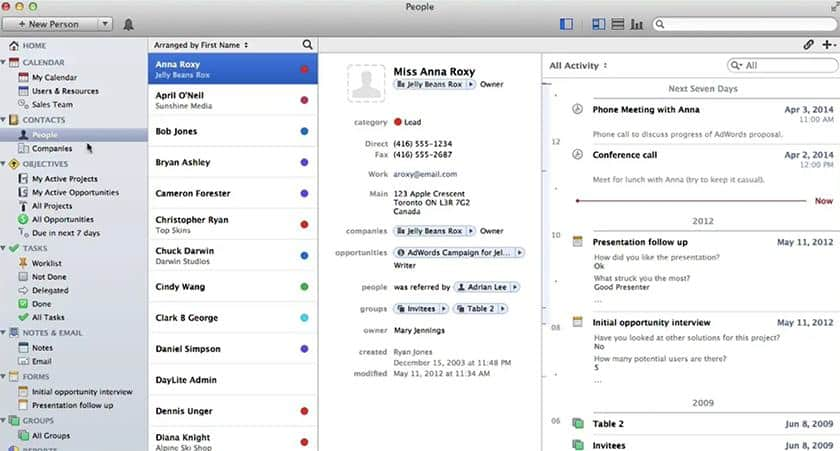 Screenshot of Daylite contact management feature