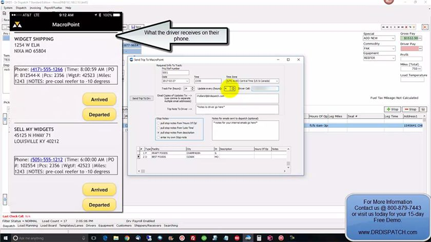 Screenshot of Dr Dispatch MacroPoint