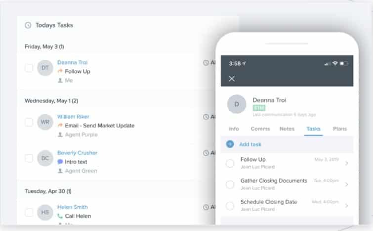 Follow Up Boss Tasks List interface