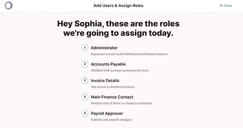 Screenshot of Globalization add user and assign roles
