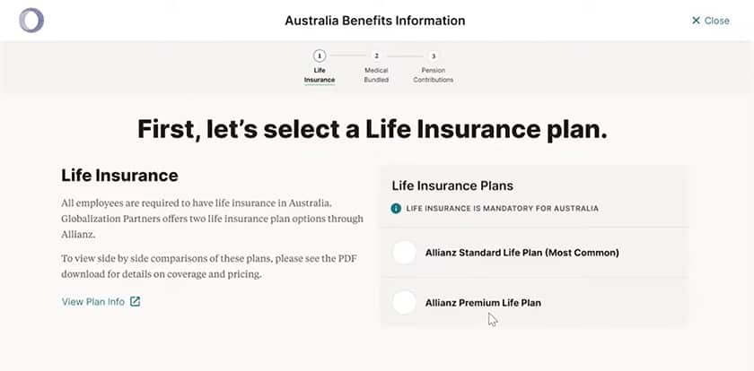 Screenshot of Globalization benefits information