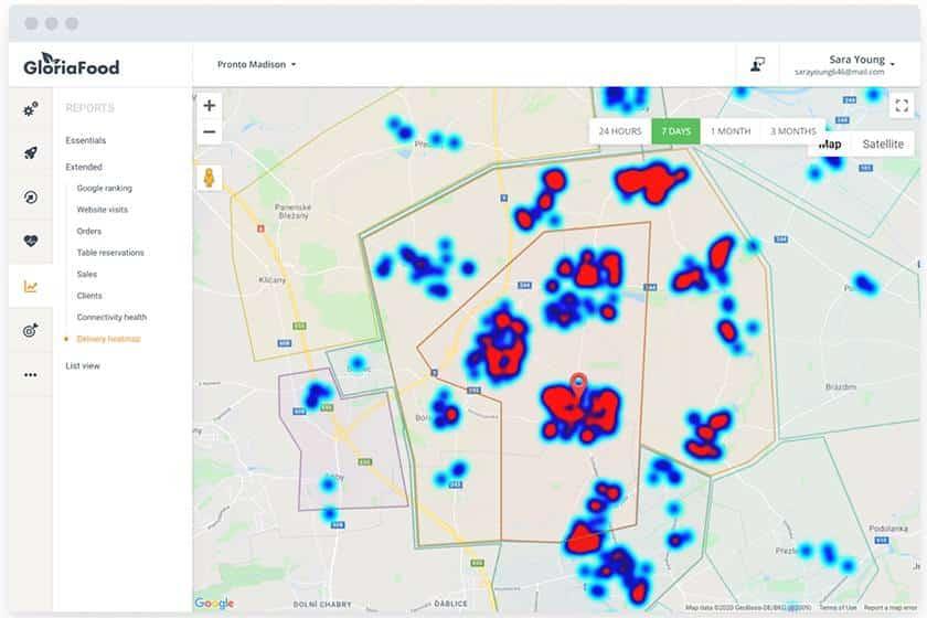Screenshot of GloriaFood Heatmaps