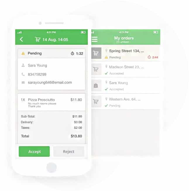 Screenshot of GloriaFood online orders on mobile