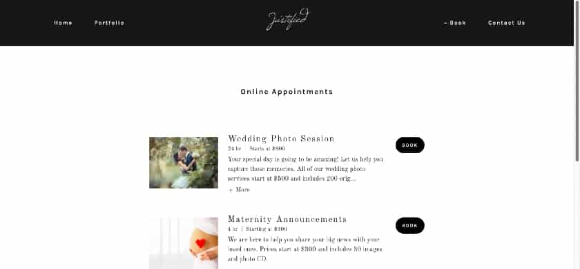 GoDaddy website example - Justified Booking page