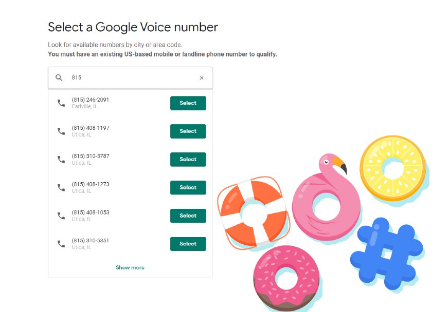 Google Voice number selection screen