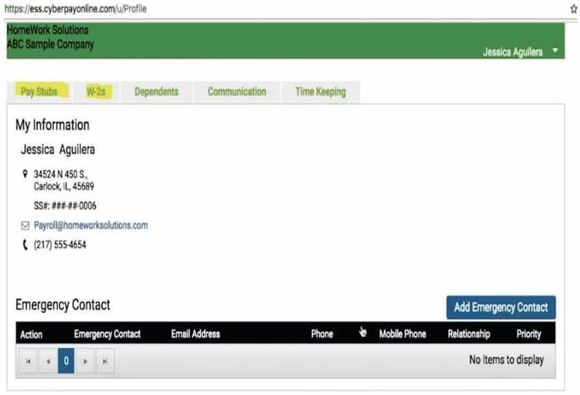Screenshot of HomeWork Solutions Employee Self-Service Portal