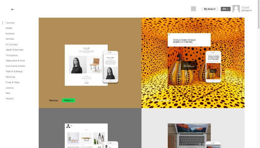 IM Creator website templates