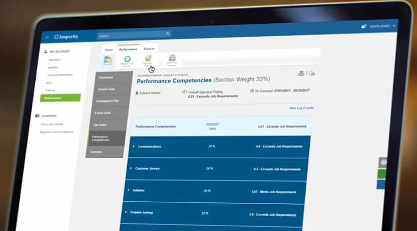 Screenshot of Insperity Performance and learning management dashboard on screen