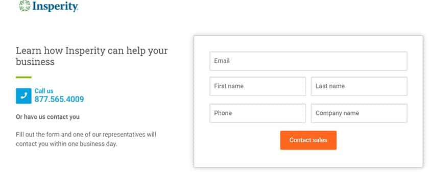 Screenshot of Insperity fill out form