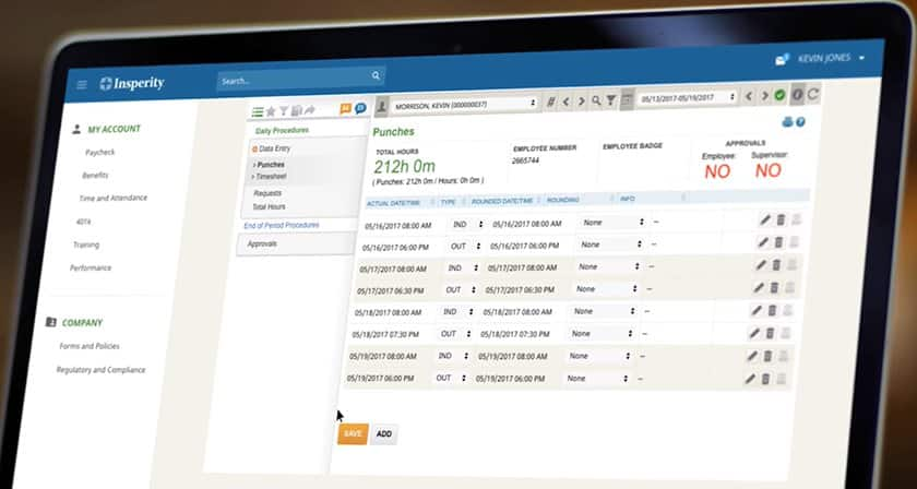 Screenshot of Insperity time tracking and attendance dashboard