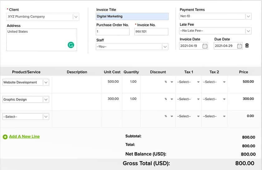 Screenshot of Invoicera Creating a New Invoice