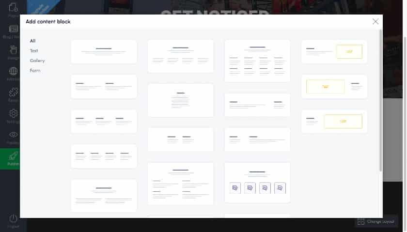 Adding Content Block in Mozello Website Builder