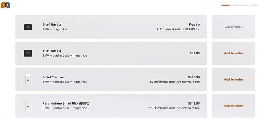 Screenshot of Payanywhere Hardware pricing