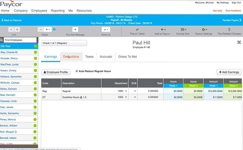 Screenshot of Paycor Payroll Processing