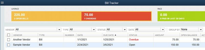 Screenshot of QuickBooks Desktop Pro Bill Tracker