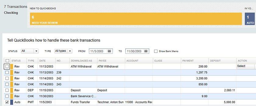 Screenshot of QuickBooks Desktop Pro Classifying Bank Transactions