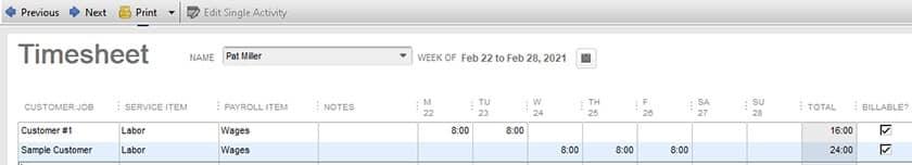 Screenshot of QuickBooks Desktop Pro Time Tracking