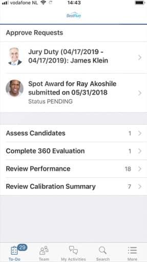 Screenshot of SAP SuccessFactors PTO requests samples