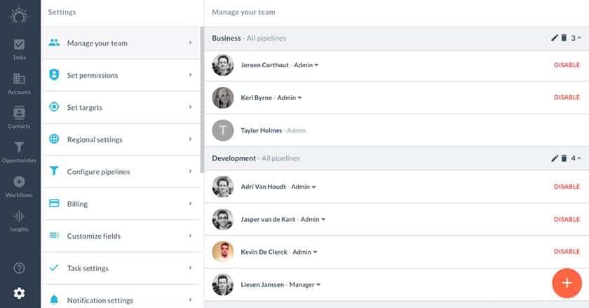 Screenshot of Salesflare team management dashboard